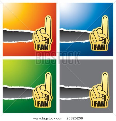 Number one fan hand on multicolored ripped banners
