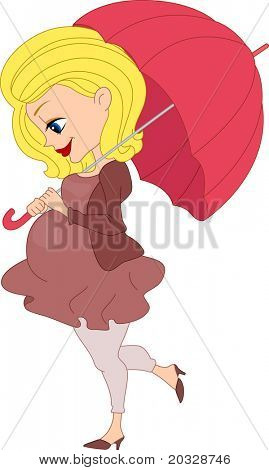 Illustration of a Pregnant Woman Holding an Umbrella