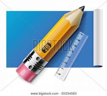 Vector pencil and ruler on paper sheet XXL icon
