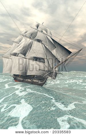 ship in the storm sea