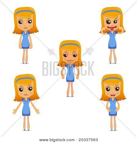 set of funny cartoon housewife