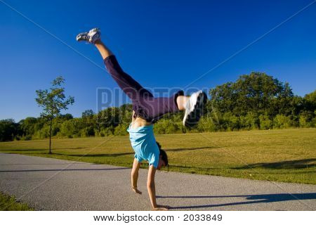 Woman Doing Cartwheel