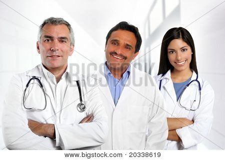 doctors multi ethnic expertise indian caucasian latin in hospital