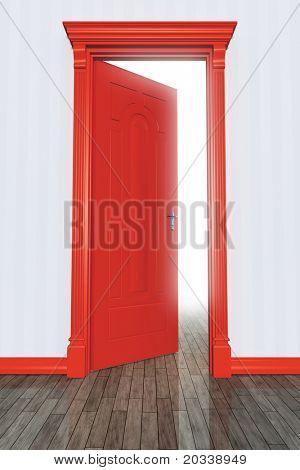 An image of an open red door