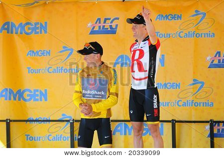 MT. BALDY, CA - MAY 21: Levi Leipheimer and Chris Horner celebrate their 1, 2 finish  at the 7th Stage of the Amgen Tour of California on May 21, 2011 in Mt. Baldy, California.