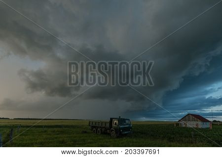 Scary gray clouds