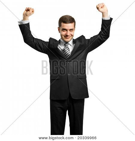 happy businessman with hands up, celebrating his victory
