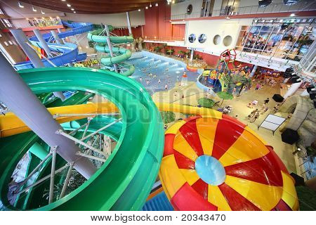 MOSCOW - MARCH 21: Large varicoloured chutes as spiral and pool in