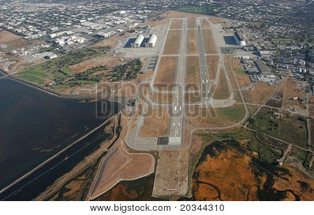 Aerial view of airport runway.