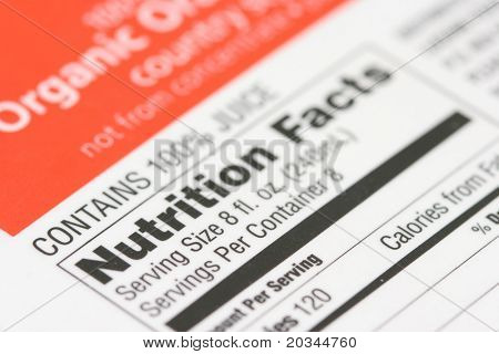 Nutrition facts from a box of Organic orange juice
