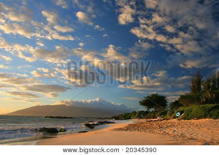 Sunset on Maui Beach, Hawaii