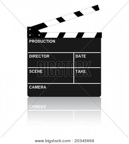 Movie clipboard on pure white with reflection.  Vector illustration.