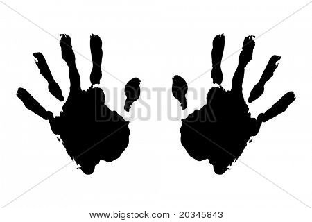 Black hand prints on pure white background