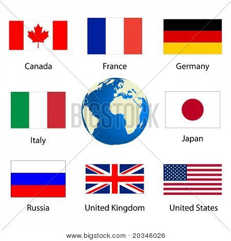 Flags of countries member of the G8