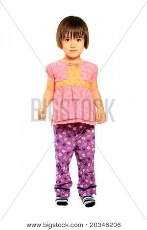 3 Years old mixed asian caucasian girl on pure white background
