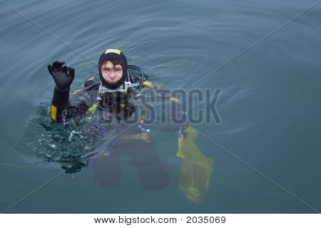 Scuba Diver After Diving Give Ok Sign