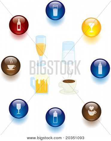 drinks and beverages illustrations and buttons set