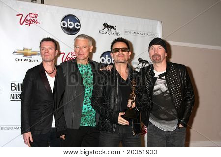 LAS VEGAS - MAY 22:  U2 (Larry Mullen Jr, Adam Clayton, Bono and The Edge) in the Press Room of the 2011 Billboard Music Awards at MGM Grand Garden Arena on May 22, 2010 in Las Vegas, NV.