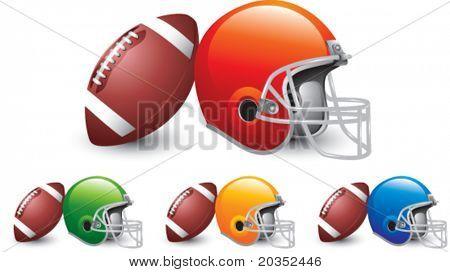 Footballs leaning against multiple colored football helmets