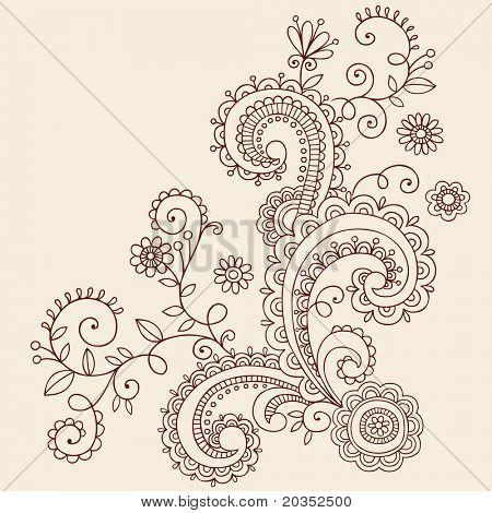 Hand-Drawn Henna Mehndi Paisley Doodle Flowers and Vines- Vector Illustration Design Elements
