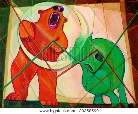 Bull And Bear Cubism