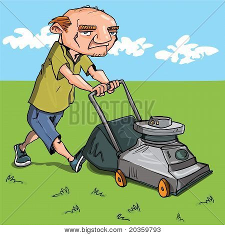 Cartoon Man Mowing His Lawn
