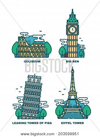 poster of European Attractions.Paris Eiffel Tower.Rome Coliseum.Paris Eiffel Tower. Leaning tower of Pisa.Big Ben London.Vector modern line outline flat style illustration