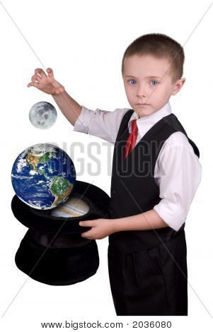 Child Magician With Planets