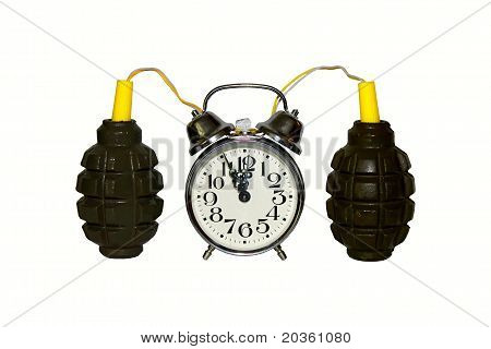 explosive excitacion alarm clok detonator  bomb isolated on white