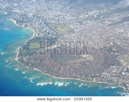Aerial Of Diamond Head Crater, Waikiki, And Honolulu