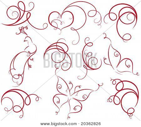 Design set with heart, bird, butterfly and curls