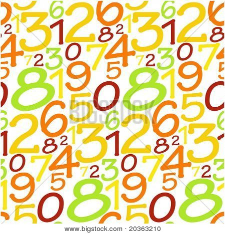 Colorful seamless pattern with numbers