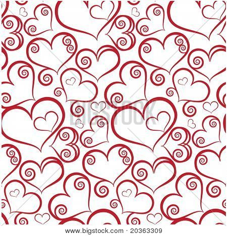 Seamless background with hearts (raster version)