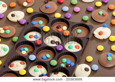 still life of chocolate with smarties