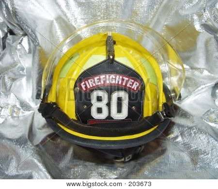 Firefighter Helmet On Crash Jacket