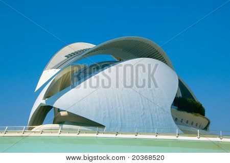 VALENCIA, SPAIN - MARCH 17: Queen Sofia Palace of the Arts in The City of Arts and Sciences on March 17, 2010 in Valencia, Spain. This opera house, designed by Santiago Calatrava, was opened in 2005.