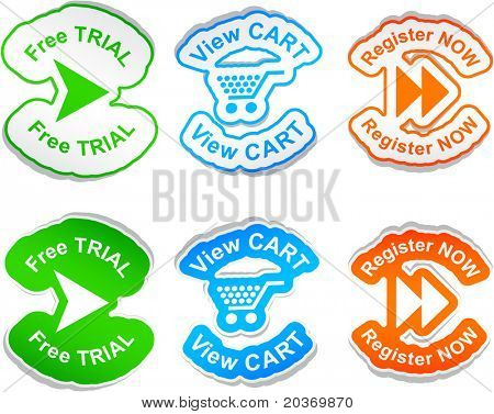 """Free trial"", ""view cart"", ""register now""  vector stickers."