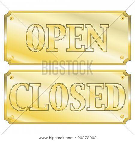 """Uma ilustração em vetor de ouro placas de parede ou porta com 'Aberto' e """"fechado"""" sinais. Formulário de vetor de EPS10"""