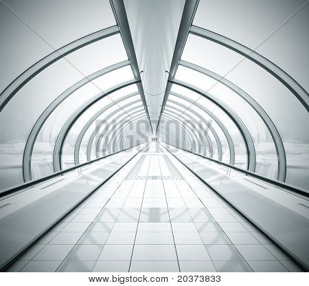 black symmetric vanishing corridor with bent wall