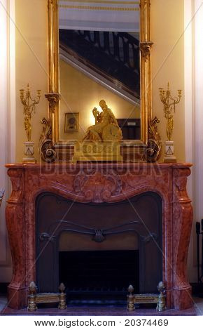 stylish fireplace in the lobby
