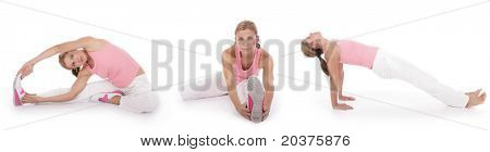 woman performing stretching exercises before fitness training, series of three exercises