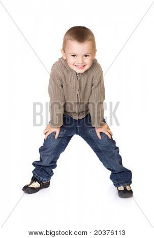 preschool boy posing for kids fashion show