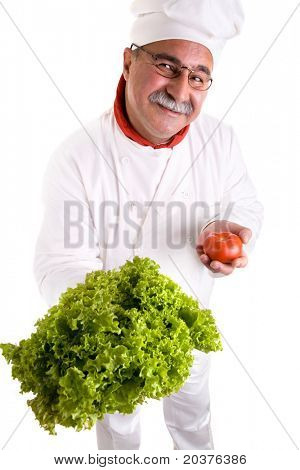 chef and salad