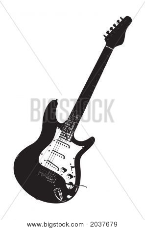 Guitar Over White