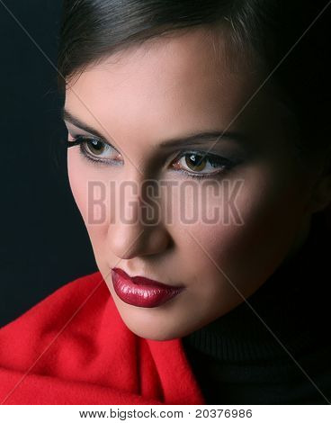 portrait of a beautiful woman, red and black contrast
