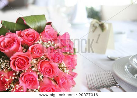 flower decoration on wedding reception