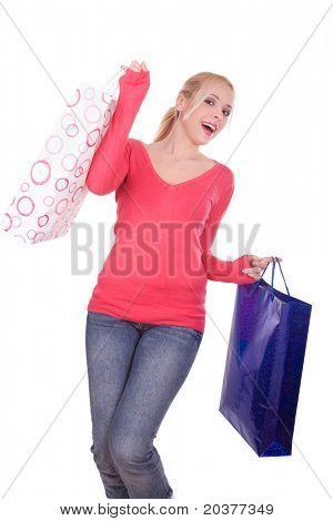 woman with shopping bags, studio shot