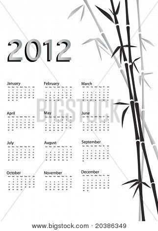 A 2012 calendar. Chinese style with bamboo background in black and white. EPS10 vector.