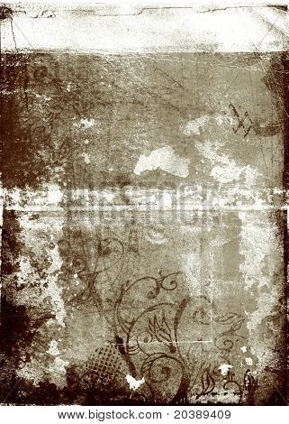 grunge background with swirls, stains and damaged edges