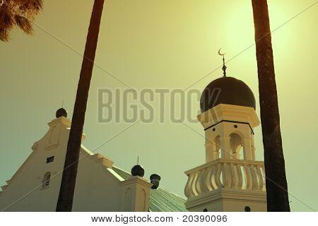 White Muslim mosque with three palms in Stellenbosch, South Africa